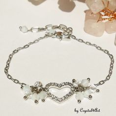 """""""Heart"""" a delicate and feminine bracelet with rhinestones and crystals with a discrete glittering. See more of my creations on Jewerly, Delicate, Feminine, Charmed, Crystals, Bracelets, Rhinestones, Handmade, Heart"""
