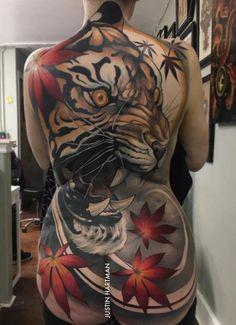 back tattoo of tiger by Justin Hartman Tattoo Girls, Girl Back Tattoos, Back Tattoo Women, Lower Back Tattoos, Tattoos For Women, Tiger Tattoo Back, Tribal Tattoos, Asian Tattoos, Body Art Tattoos
