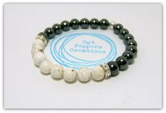 "Simple Black & White ~ Hemalyke and Magnesite Gemstone Bracelet ~ 8mm Gemstones ~ Silver Rhinestone Spacer Beads ~ stretch  7.5"" www.sgtpepperscreations.etsy.com #sgtpepperscreations #handmadejewelry #etsy"