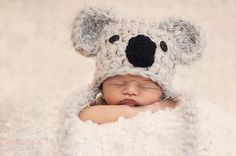 Meet Kenny, this Cute Handmade Koala hat is made in a lux wool mix yarn, this hat is soft and washable, two important factors for wee babies.