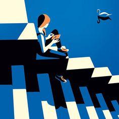 """""""Au bord de l'escalier"""" Illustration de l'artiste française Malika Favre"""