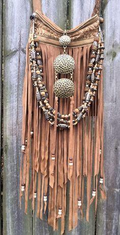 Handmade Tan Sahara Bag Suede Leather Fringe Hobo Ibiza Boho Hippie Purse B.Joy #Handmade #MessengerCrossBody