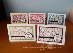 Stampin' Up! ... hand crafted notecard set Ruth's Stamping Corner ... matted patterned papers ... monogram on a circle ...