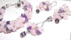 Купить Кулон-подвеска из розового кварца и аметиста. - бледно-розовый, кварц, натуральный аметист
