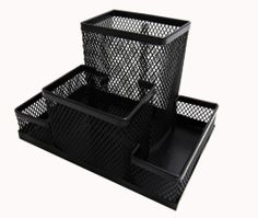 "Black Mesh Desk Organizer 4 Compartments 6""x4""x4"" Metal Steel 