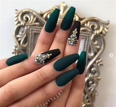 Sexy Dark Nails Art ✿ Include Acrylic Nails, Matte Nails, Stiletto Nails - Page 6 Coffin Nails Matte, Cute Acrylic Nails, Acrylic Nail Designs, Nail Art Designs, 3d Nails, Nails Design, Dark Nail Designs, Green Nail Designs, Stiletto Nails