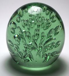 Magnum Antique English Green Glass Bubble Dump Paperweight. circa 1840-1900.