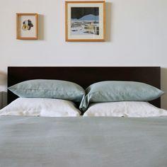 Celadon Light Green Italian Linen Duvet Cover. Pure linen in an invigorating, balancing and peaceful shade of grey green