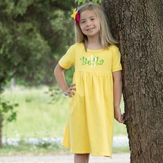 Lolly Wolly Doodle Yellow Short Sleeve Cotton Dress  with purple writing !!