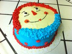 Raggedy Ann birthday cake made by daugthers there first time doing