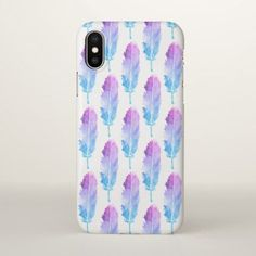 #Purple Blue Watercolor Feather Pattern iPhone X Case - #chic #watercolor #iphone,