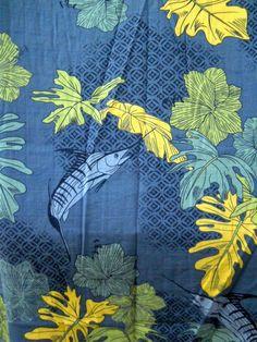 Bluewater Mens Hawaiian Shirt 2XL Blue Marlin Fish Aftco USA Made Tropical Leave #Bluewater #Hawaiian