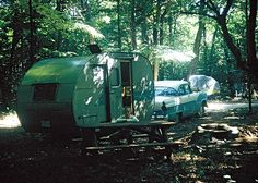 '55 Ford and trailer at campsite, Canisbay Lake, Algonquin Provincial Park, 1959 - where's my time machine ?