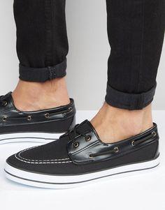 ASOS | ASOS Boat Shoes in Black Canvas