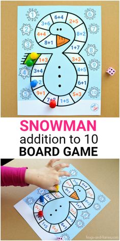 Board games 487725834639044270 - Kids can practice beginning addition with this cute printable Snowman Addition to 10 Board Game! Winter Activities For Kids, Math Games For Kids, Kindergarten Games, Printable Activities For Kids, Board Games For Kids, Math Activities, Therapy Activities, Math Board Games, Printable Board Games
