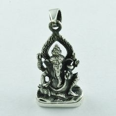 LORD GANESHA LOVELY POSE 925 HANDMADE STERLING SILVER PENDANT #SilvexImagesIndiaPvtLtd #Pendant