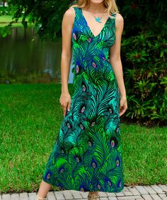 Look at this Green & Blue Peacock Maxi Dress on #zulily today!