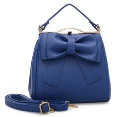 VK Beautiful Tote Handbag With Big Bowknot - Blue Tote Handbags, Bucket Bag, Shoulder Bag, Blue, Beautiful, Fashion, Crocheted Purses, Bags, Moda