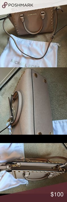 Michael Kors Blush Studded Selma Medium used but still in amazing condition, lowest price on net and no major flaws that i can see. 100% authentic Michael Kors Bags Shoulder Bags