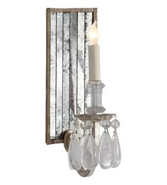 Thomas O'Brien Elizabeth Mirror Back Wall Sconce in Gilded Iron with Quartz and Antique Mirror by Visual Comfort Wall Sconce Lighting, Home Lighting, Candle Sconces, Wall Sconces, Lighting Design, Pendant Lighting, Bathroom Sconces, Visual Comfort Lighting, Circa Lighting