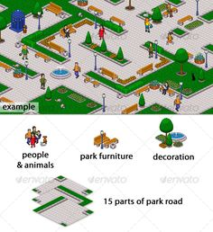 Pixel art park set  #GraphicRiver        From this pieces you can make any own park.  In psd file all parts on separate layers. Set contain: 15 parts of road + grass , 8 figure people and 3 animals, 3 kind of trees, 4 kind of flowerbeds, bushes, stones, 2 benches, fountain, garbage can, street lamp and strange blue box.  All of this parts are shown on preview image. Added png files.     Created: 3October10 GraphicsFilesIncluded: PhotoshopPSD #TransparentPNG Layered: Yes PixelDimensions…