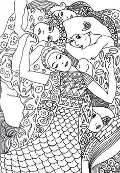 Gustav Klimt Kolorowanki dla dorosłych Sztuka – Keep up with the times. Gustav Klimt, Art Klimt, Colouring Pages, Adult Coloring Pages, Coloring Books, Art Projects For Adults, Famous Art, Art Plastique, Art Lessons