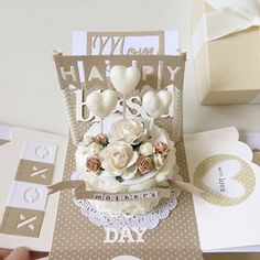 Happy Mother's Day explosion box card in cream and beige with a pop up cake #mypapercraftingboxcard #motherday #handmadecard #cardmaking #handmade #explosionbox #boxcard #handmade #happymotherday