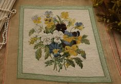 Vintage-Antique-Design-Pansies-Floral-Bouquet-Completed-Needlepoint-Canvas