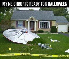 My neighbor is ready for halloween