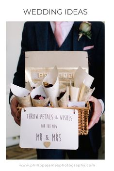 Throw petals and wishes for the new mr and mrs... confetti cones handed out in cute basket... image by Philippa James Photography #confetti