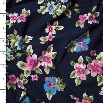 Pink an Turquoise on Navy Blue Wildflower Floral Double Brushed Poly Spandex Print
