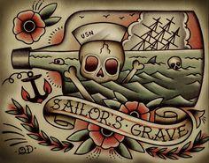 Death by Sea Tattoo Print por ParlorTattooPrints en Etsy Cool Back Tattoos, Back Tattoos For Guys, Weird Tattoos, Trendy Tattoos, Craziest Tattoos, Desenhos Old School, Dessin Old School, Sailor Jerry Tattoos, Traditional Tattoo Flash