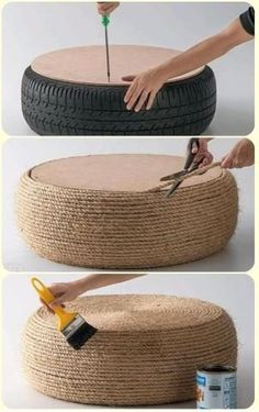 outdoor seating DIY style. use an old tire, wood flat top, cover it with rope, coat it, voila!
