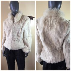 vintage 70s jacket  white bunny fur jacket by 3GenerationCuration  #vintage #thrift #fashion #fur #coat #winter #70s #small #rad