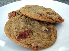OMG craziest idea for cookies I've ever heard of, but I really want to try it!!  Salty and Sweet.  Brown butter, Bacon, Chocolate chip cookies.