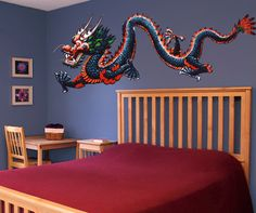 Graphic Vinyl Wall Decal Sticker Chinese Dragon-- would be an epic cornice decoration