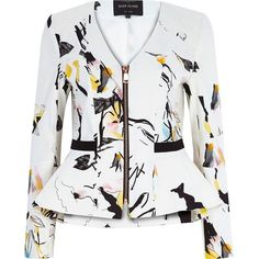 River Island White abstract print peplum jacket (€125) ❤ liked on Polyvore featuring outerwear, jackets, coats / jackets, white, women, tall jackets, river island, white jacket, river island jackets and flare jacket