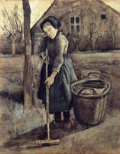 A Girl Raking - 1881 - Vincent van Gogh