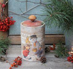 """Купить """"Зимние радости"""" короб - бежевый, белый, красный, коробочка для подарка, коробка для мелочей, короб"""