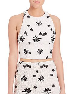 8cc0bf65749d46 Alice + Olivia Lace Racerback Cropped Top - White - Black - Size