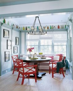 Add a splash of colour in your dining space with accent pieces.