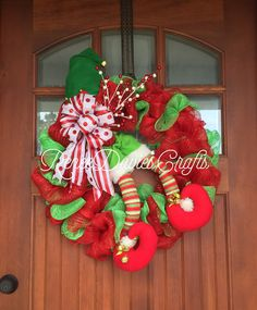 A personal favorite from my Etsy shop https://www.etsy.com/listing/476044910/elf-wreath-christmas-wreath-holiday