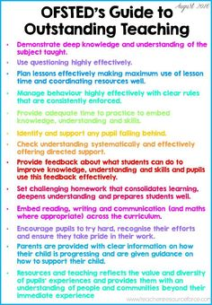 UK Teachers: OFSTED guide to outstanding teaching! Print this off and display�