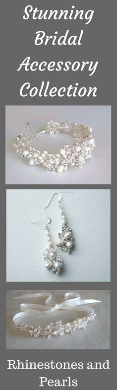 This stunning rhinestone and pearl accessory collection is sure to make you feel like a queen on your special day! Pearl headband. Pearl and rhinestone earrings. Pearl and rhinestone bracelet. Bridal headband. Freshwater pearls Bridal head piece. Wedding head band. Pearl headband. Ribbon headband. Bridal headpiece. #wedding #weddingjewelry #ad #pearls #rhinestones #giftidea