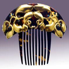 EVALD NIELSEN 1879-1958 Skonvirke Comb Gold Tortoiseshell Lapis Danish, c.1900