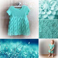 "Детское платье ""Бирюзовый сон"" бесплатное описание мастер-класс baby girl dress knitting free pattern"