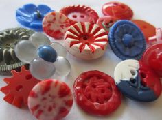 Vintage Buttons  Cottage chic mix of  bright blue by pillowtalkswf, $7.00