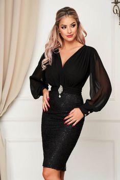 Rochie PrettyGirl neagra midi de ocazie din voal si dantela tip creion Dresses With Sleeves, Satin, Formal Dresses, Long Sleeve, Fashion, Gowns With Sleeves, Tea Length Formal Dresses, Moda, Formal Gowns