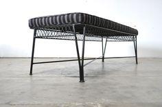 SALTERINI TEMPESTINI Vtg Mid Century Modern Black Wrought Iron Bench Sofa Chair  #Salterini
