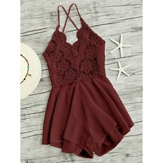 Lace Panel Criss Cross Backless Romper ($13) ❤ liked on Polyvore featuring jumpsuits, rompers, burgundy, sleeveless romper, playsuit romper, red backless jumpsuit, romper jumpsuit and burgundy romper